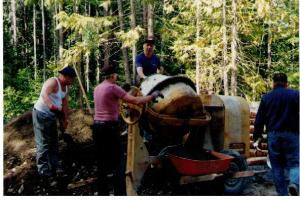 DHRS #1999 Old Guys mixing concrete the old way